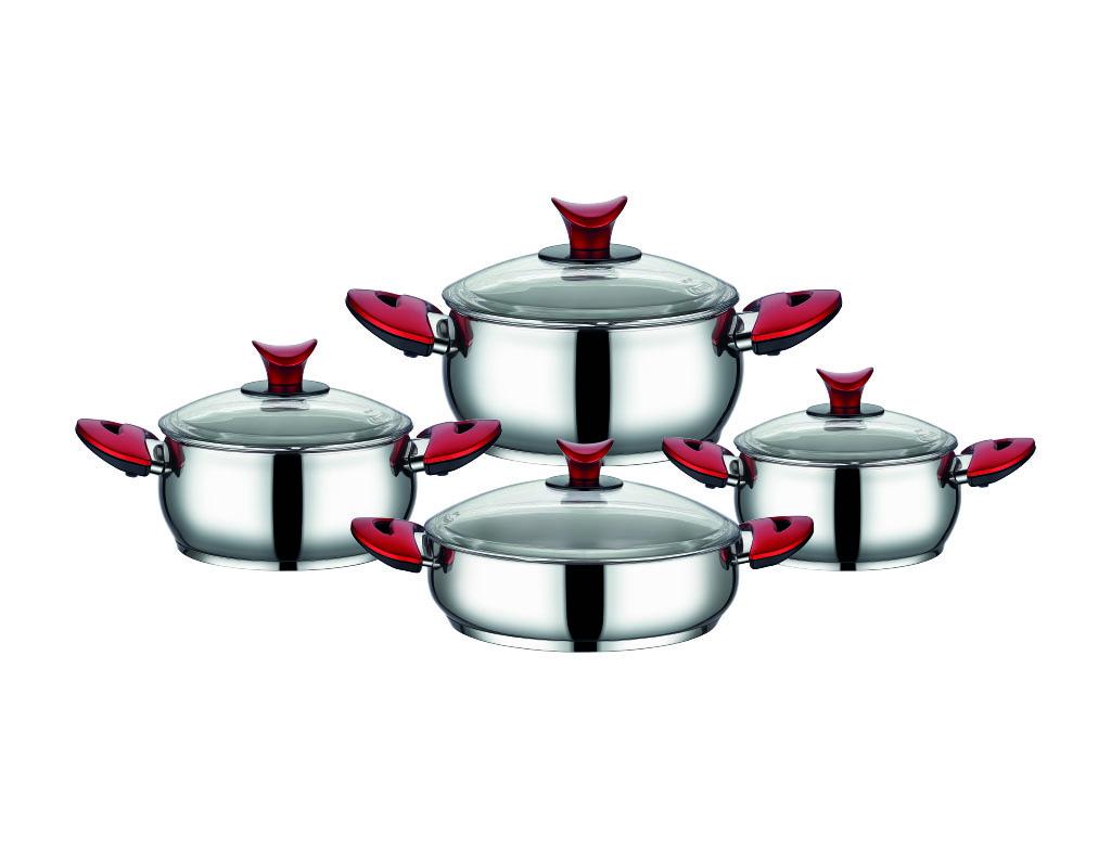 Aksu Hanedan 8 Parça Çelik Tencere Seti Kırmızı