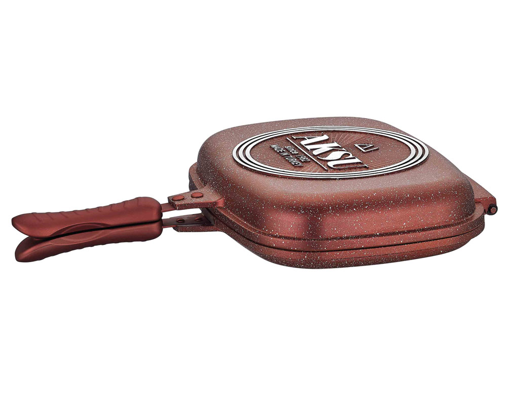 Aksu Extra Granit Çift Taraflı Tava 34 cm Bakır Kırmızı